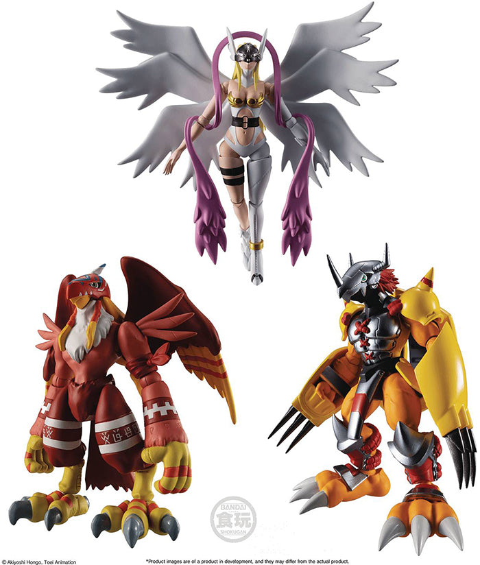 Digimon Adventure 3 Inch Action Figure Shokugan - Set of 3 (Wargreymon - Angewomon - Garudamon)
