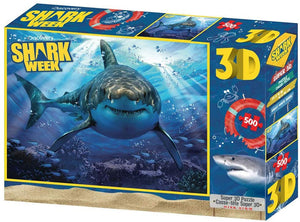Jigsaw 3D Puzzle Discovery Shark Week 24 Inch by 18 Inch Puzzle 500 Piece - Facing You Shark