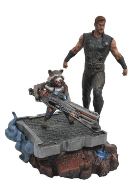 Marvel Premier Collection 9 Inch Statue Figure Avengers Infinity War - Thor & Rocket Raccoon