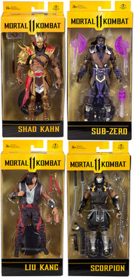 Mortal Kombat 11 7 Inch Action Figure Wave 5 - Set of 4 (Liu - Shao - Scorpion - Sub)