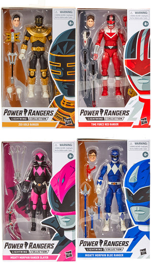 Power Rangers 6 Inch Action Figure Lightning Collection - Set of 4 (Time Force Red - Blue Classic - Gold Zeo - Slayer)