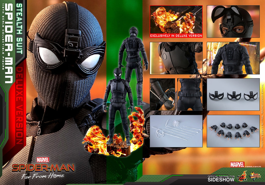 Spider-Man Far From Home 12 Inch Figure 1/6 Scale - Spider-Man (Stealth Suit) Deluxe Version Hot Toys 904858