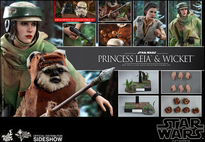 Star Wars Return of the Jedi 11 Inch Action Figure 1/6 Scale Series - Princess Leia & Wicket Hot Toys 905143