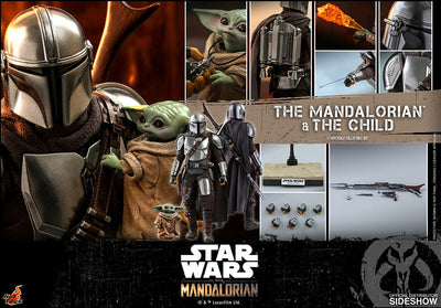 Star Wars The Mandalorian 12 Inch Action Figure 1/6 Scale Series - The Mandalorian and The Child Hot Toys 906135
