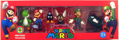 Super Mario 2 Inch Action Figure Mini Figure Collection Series 1 - 6 Figure Box Set (Yosh, Mario, Luigi, Bullet Bill)