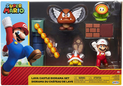 Super Mario Nintendo 4 Inch Action Figure Box Set - Lava Castle Diorama