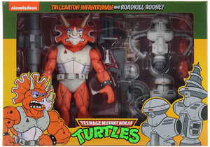 Teenage Mutant Ninja Turtles Cartoon Series 7 Inch Figure 2-Pack Exclusive - Triceraton Infantryman & Roadkill Rodney