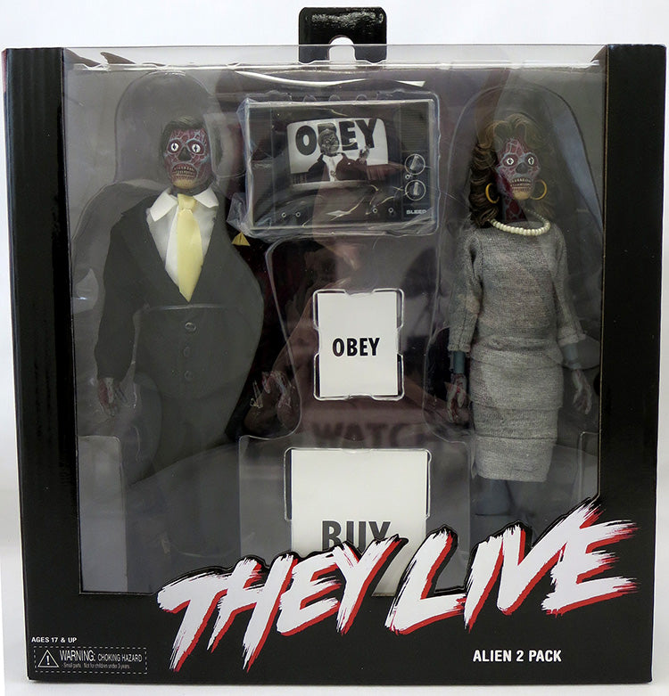They Live 8 Inch Action Figure Retro Clothed Series - Alien 2-Pack