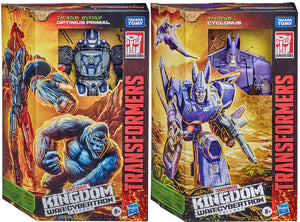 Transformers War For Cybertron Kingdom 7 Inch Action Figure Voyager Class Wave 1 - Set of 2 (Optimus Primal - Cyclonus)