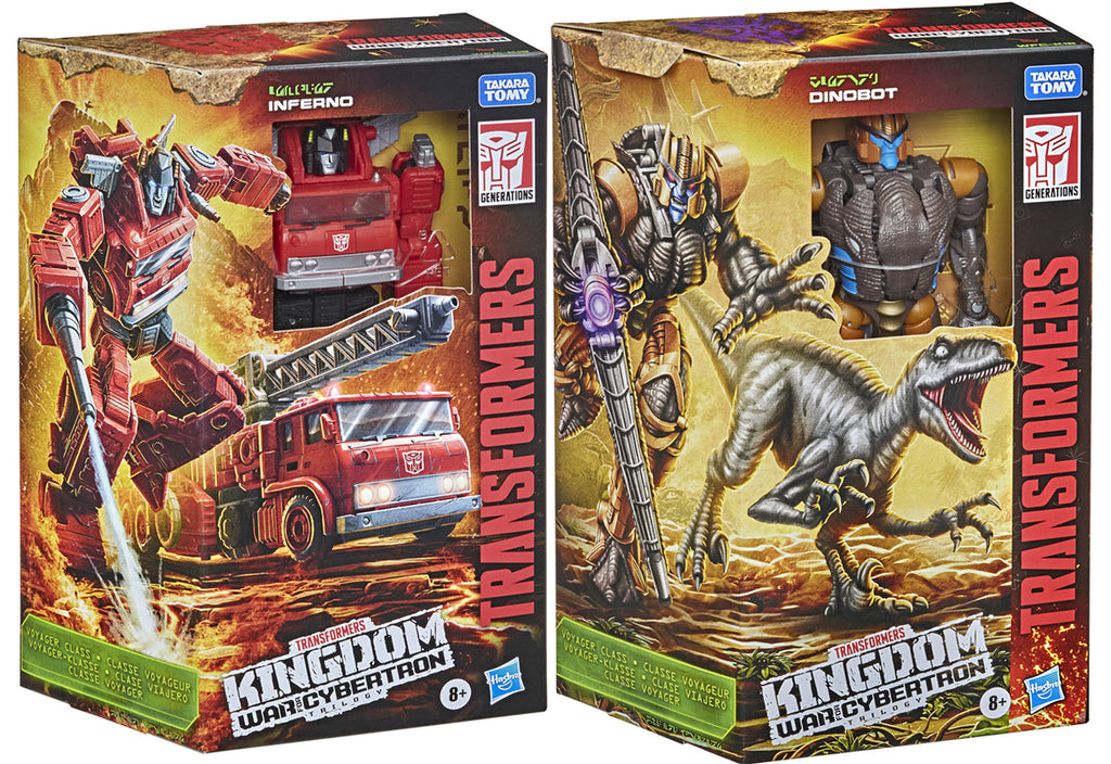 Transformers War For Cybertron Kingdom 7 Inch Action Figure Voyager Class Wave 2 - Set of 2 (Dinobot - Inferno)