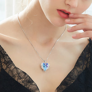 Crystal Angel Wings Heart Pendant (75% Off Today)