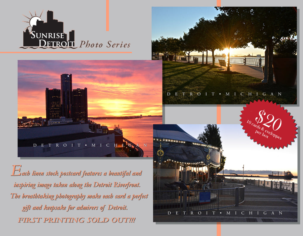 Sunrise Detroit 100% Linen Note Cards