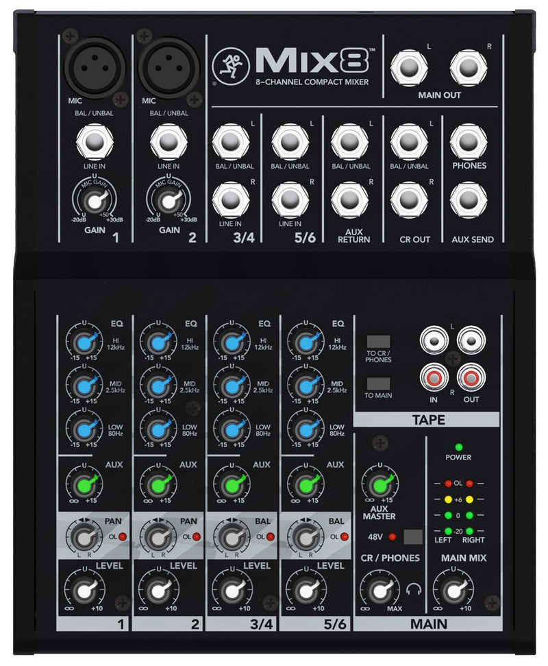 Compact 8 channels mixer