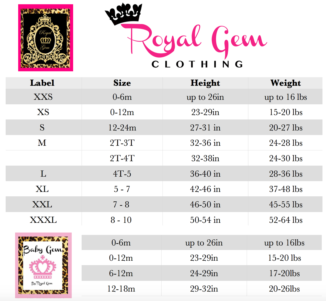 Size chart royal gem clothing geenschuldenfo Choice Image