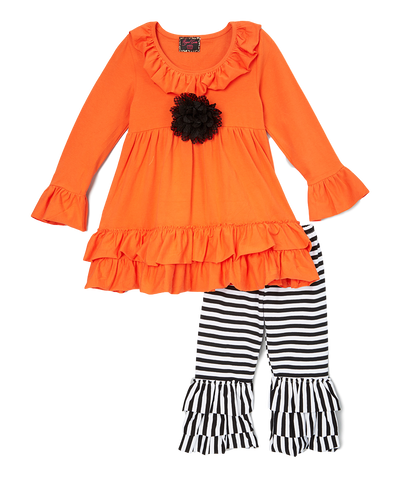 Black And Orange Tunic Top And Leggings Set