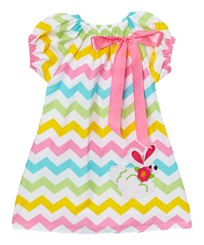Rainbow Easter Bunny Chevron Cap Sleeve Shift Dress