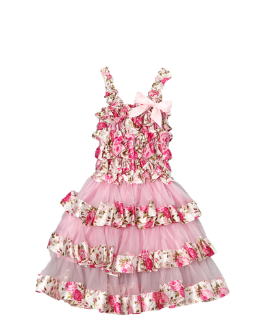 Pink Floral Satin & Chiffon Flower Girl Tiered Dress