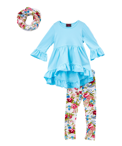 Teal & White Floral Scarf, Tunic Top, and Leggings Set