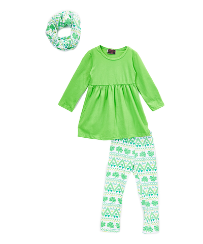 3pc Green Shamrock Scarf Tunic Set