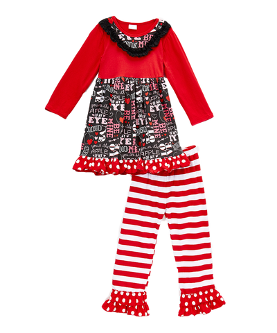 Red Ruffle Valentine Top & Leggings Set