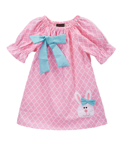 Pink & Blue Quatrefoil Bunny Dress