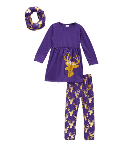 Purple Floral Antler Top & Leggings Scarf Set