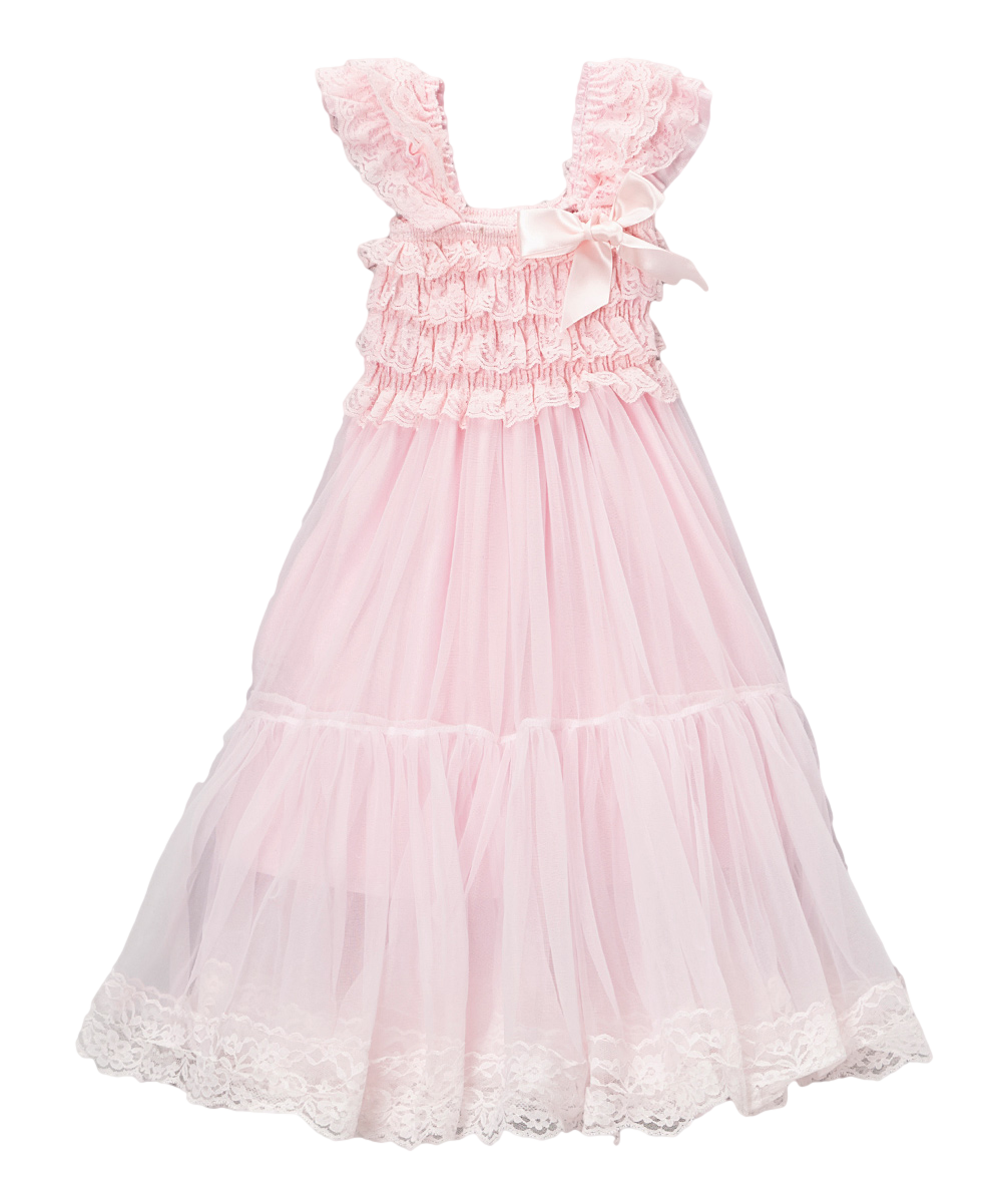 Pink Lace Amp Chiffon Capsleeve Babydoll Flower Girls Dress