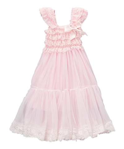 Pink Lace & Chiffon Capsleeve Babydoll Flower Girls Dress