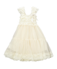 Ivory Lace & Chiffon Capsleeve Babydoll Flower Girls Dress
