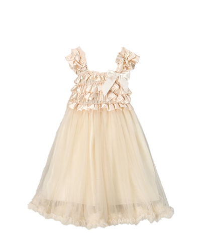 Ivory Satin & Chiffon Capsleeve Babydoll Flower Girls Dress