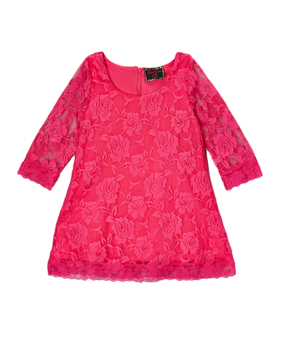 Hot Pink Lace Overlay Girls Dress