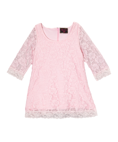 Light Pink Lace Overlay Girls Dress