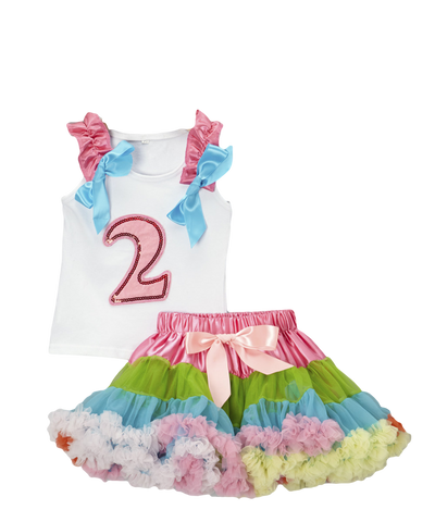 Two 2 Birthday Pettiskirt & Tank Tutu Set