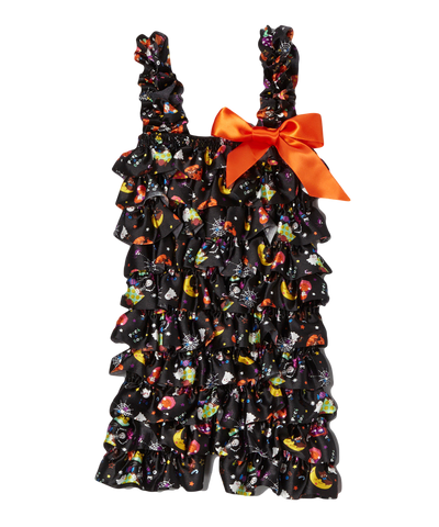 Orange Printed Halloween Ruffle Romper
