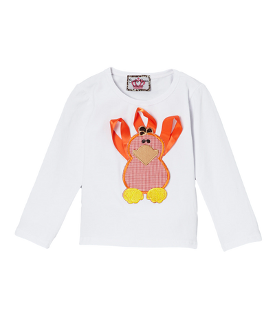 Orange Ribbon Turkey Long Sleeve Thanksgiving Top