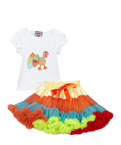 Rainbow Turkey Top & Pettiskirt Thanksgiving Set