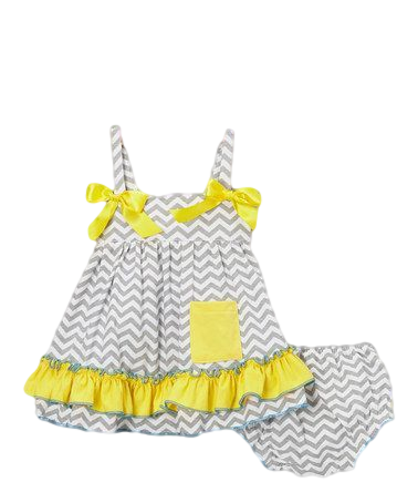 Grey Chevron & Yellow Ruffles Swing Top & Diaper Cover Set