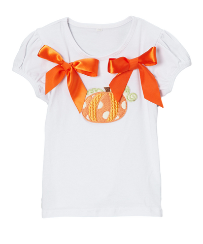 Orange Ribbon Pumpkin Short Sleeve Thanksgiving & Halloween Top