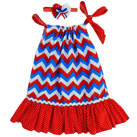 4th of July Pillowcase Red & Blue Chevron Flag Dress