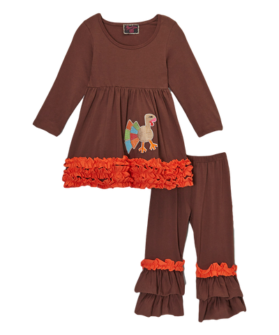 Brown Ruffled Turkey Thanksgiving Pant & Top Set