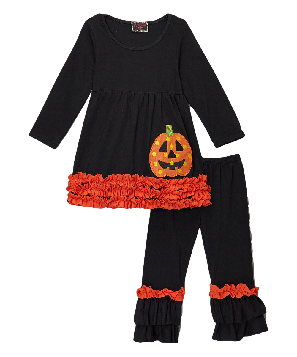 3be706c6e1aa Black & Orange Ruffled Jack o Lantern Halloween Pant ...