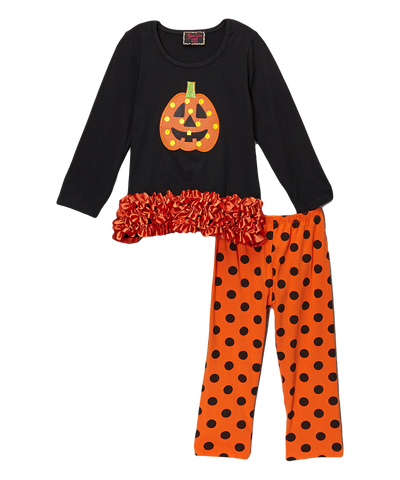 Jack O Lantern Halloween Ruffled Polka Dot Pant & Top Set