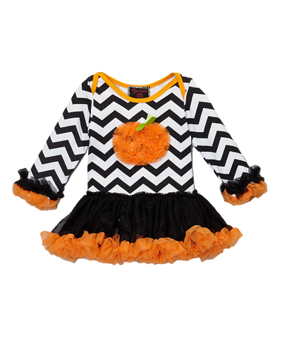 Black Halloween Chevron Pumpkin Skirted Bodysuit