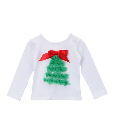 Christmas Tree Long Sleeve Ruffle Christmas Top