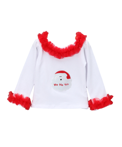 Red Santa Long Sleeve Ruffle Christmas Top