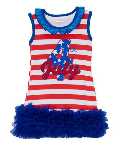 4th Of July Striped Ruffle Dress