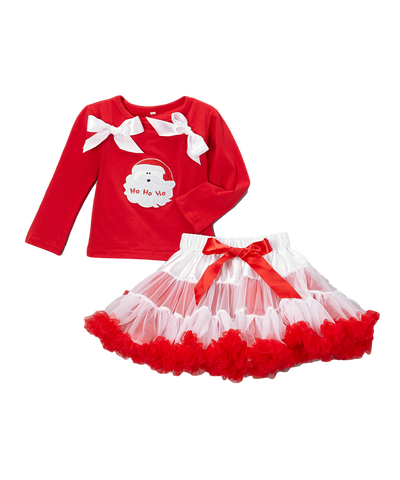 Red Santa Top & Pettiskirt Christmas Set