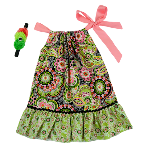 Green & Pink Paisley Pillowcase Dress & Headband