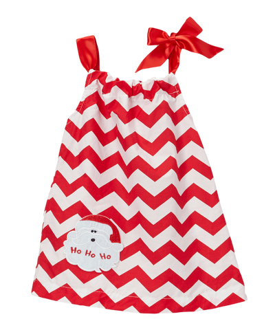Red Santa Pillowcase Christmas Chevron Shift Dress