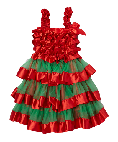 Red & Green Satin & Chiffon Tiered Dress